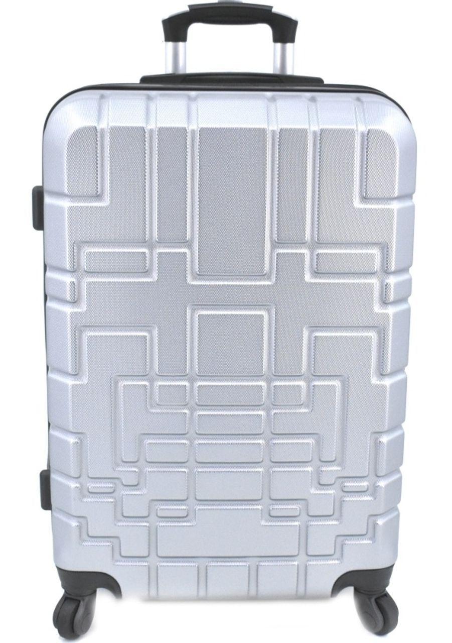 Cestovní kufr skořepinový na čtyřech kolečkách (M) 80l - stříbrná 6015 (M)