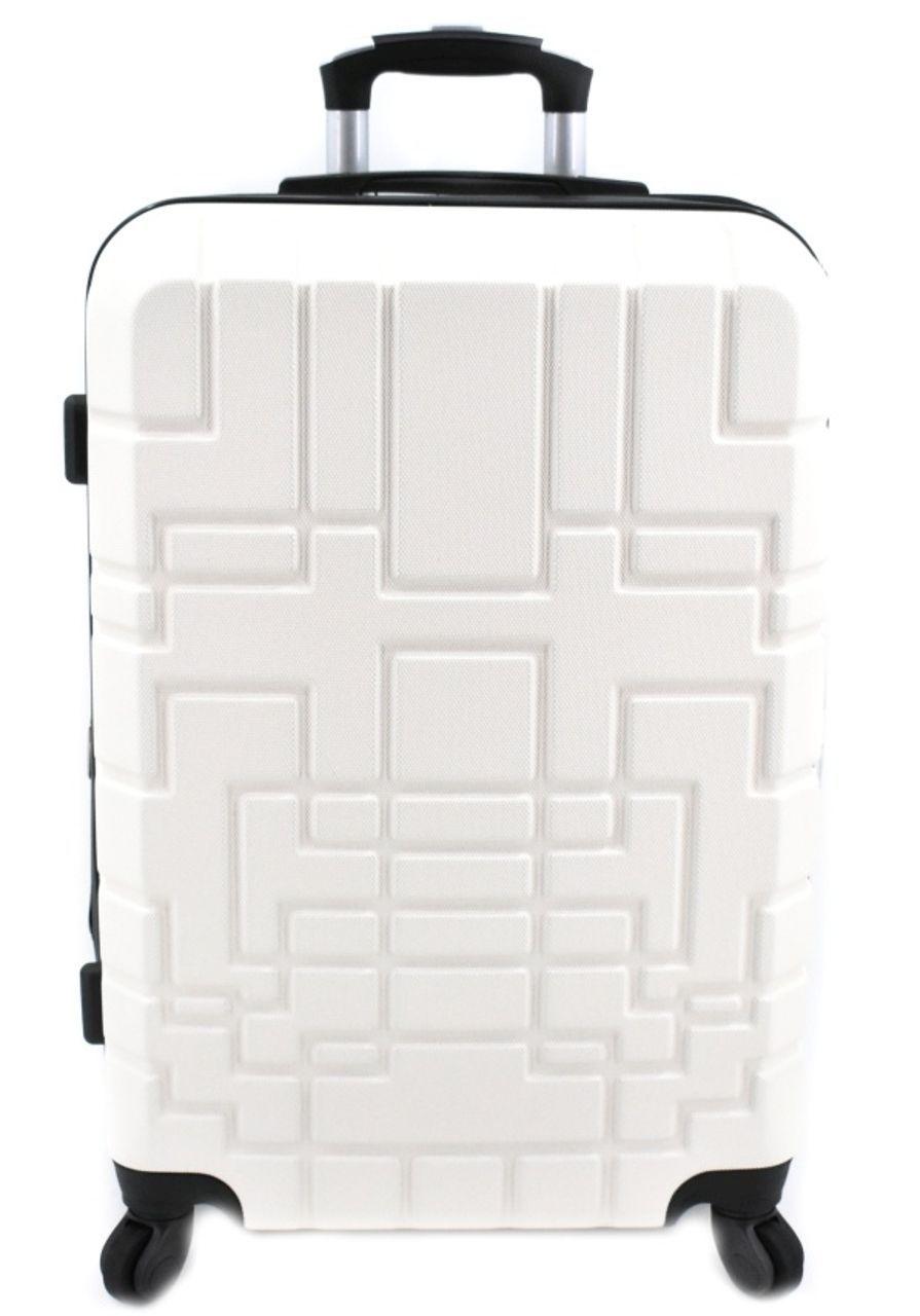 Cestovní kufr skořepinový na čtyřech kolečkách (M) 80l - krémová 6015 (M)