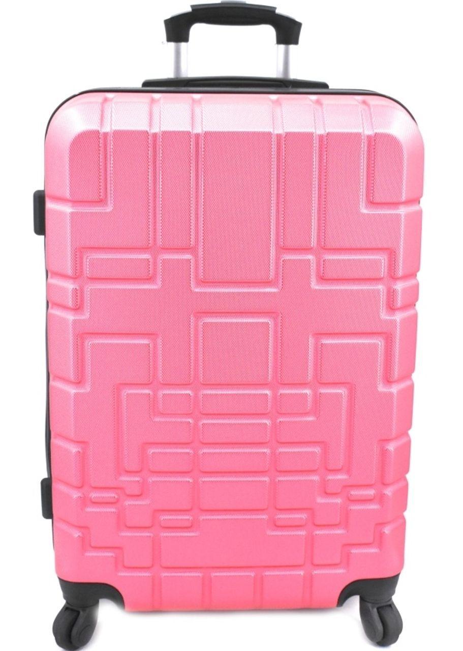 Cestovní kufr skořepinový na čtyřech kolečkách (M) 80l - růžová 6015 (M)