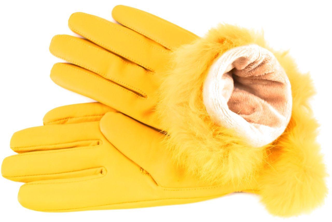 Elegantní kožené zateplené dámské Every rukavice ozdobené kožešinou - tmavě hnědá (XL)