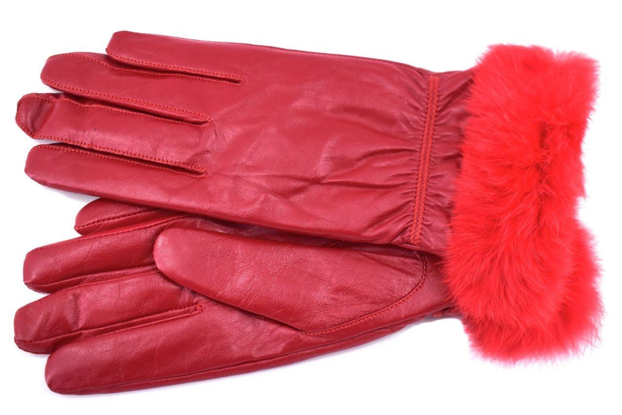 Elegantní kožené zateplené dámské Every rukavice ozdobené kožešinou - červená (L)