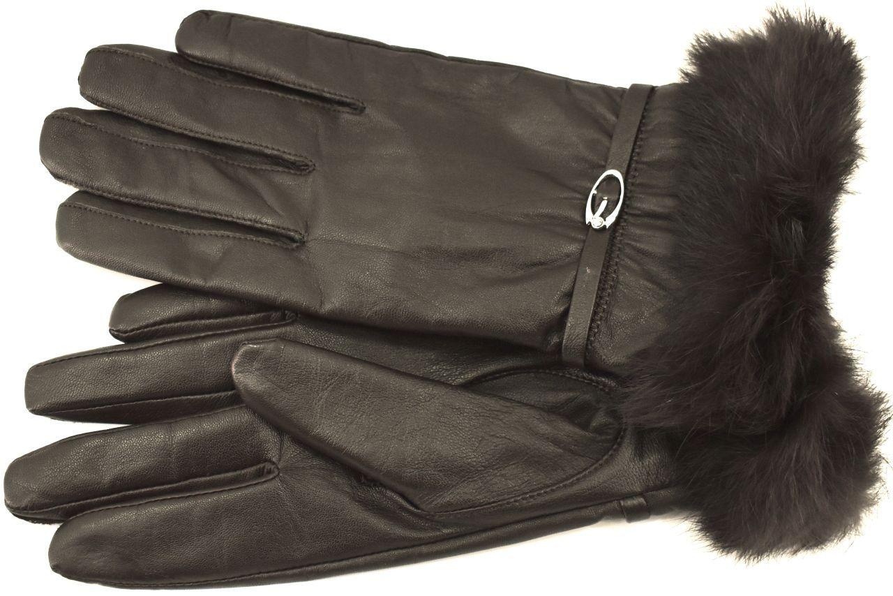 Dámské kožené rukavice Every  ozdobené kožešinou - tmavě hnědá (XL)