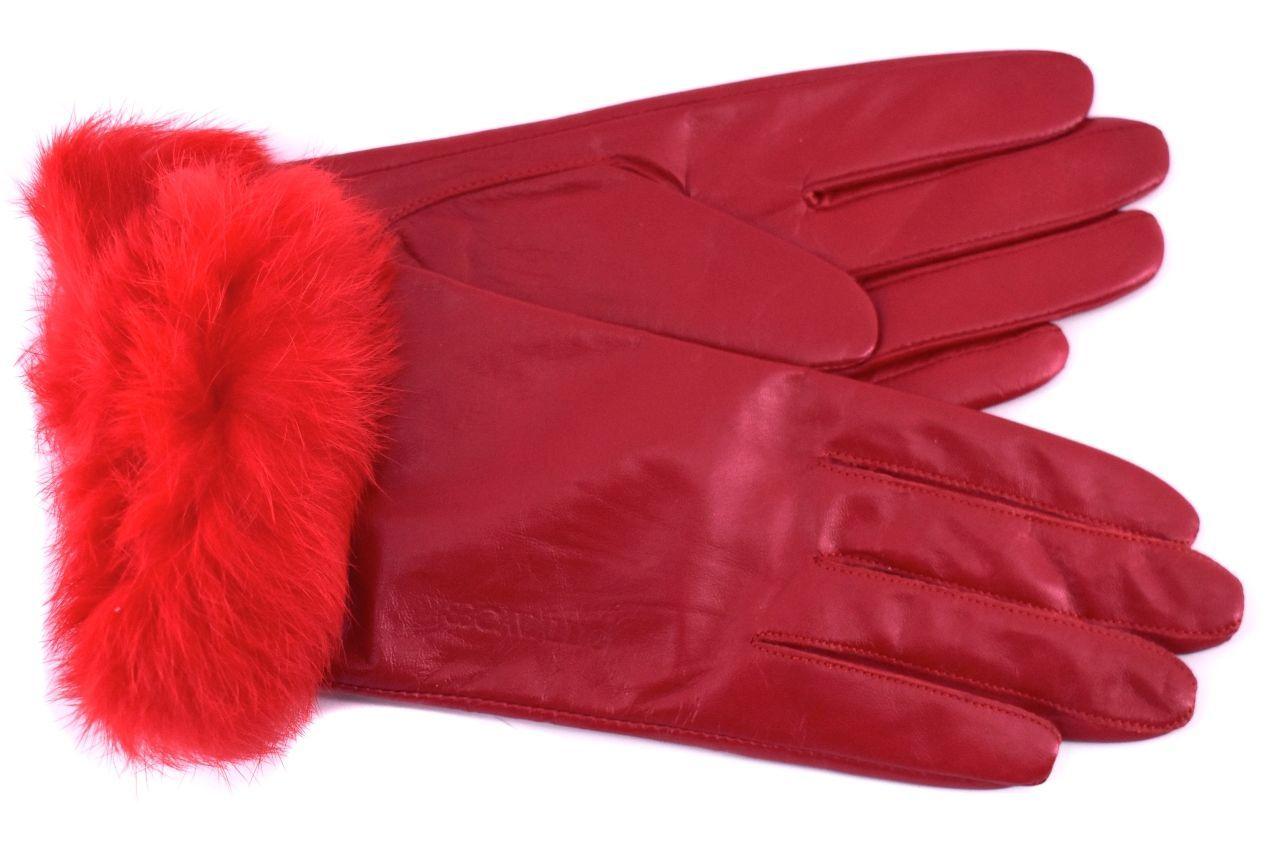 Dámské kožené rukavice B.Cavalli ozdobené kožešinou  - červená  (M)