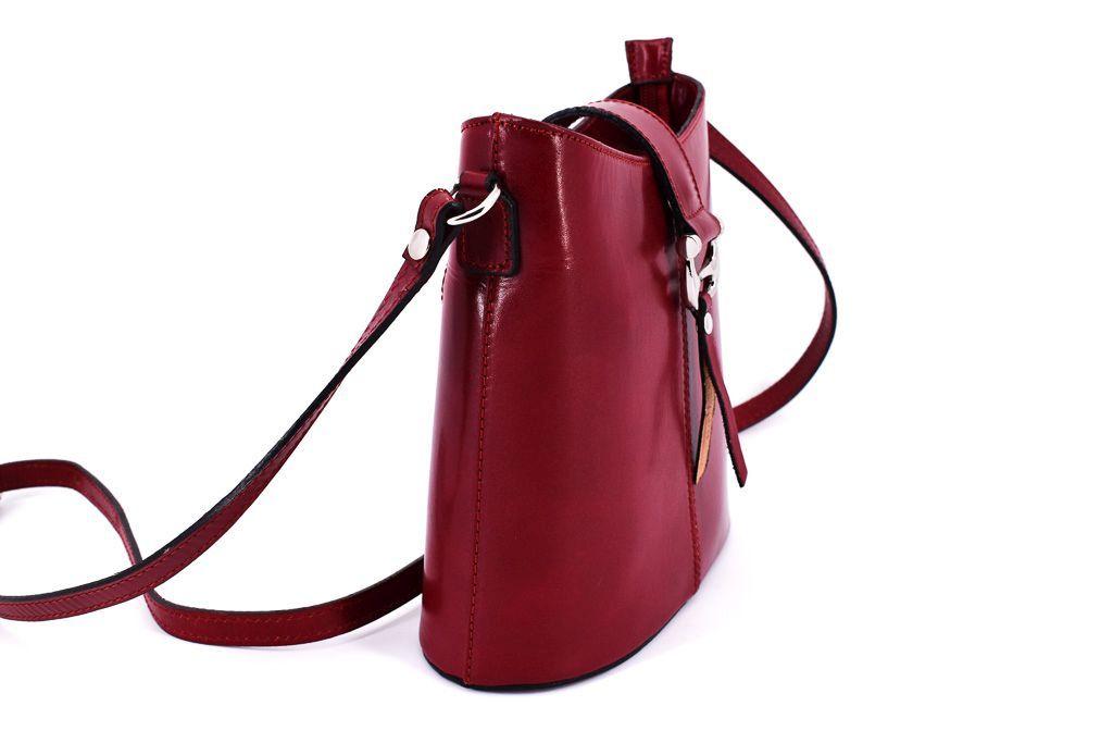 Dámská kožená kabelka crossbody Arteddy - fuxia/tmavě modrá