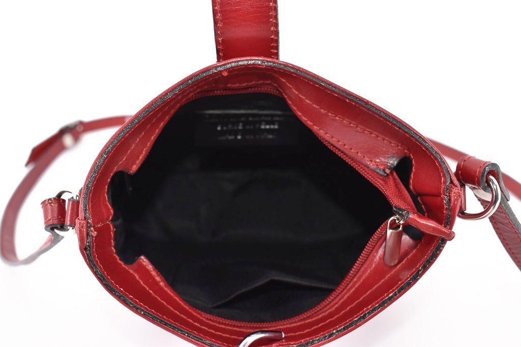 Dámská kožená kabelka crossbody Arteddy - světle červená/hnědá