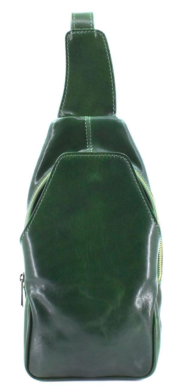 Moderní kožená taška přes rameno - zelená