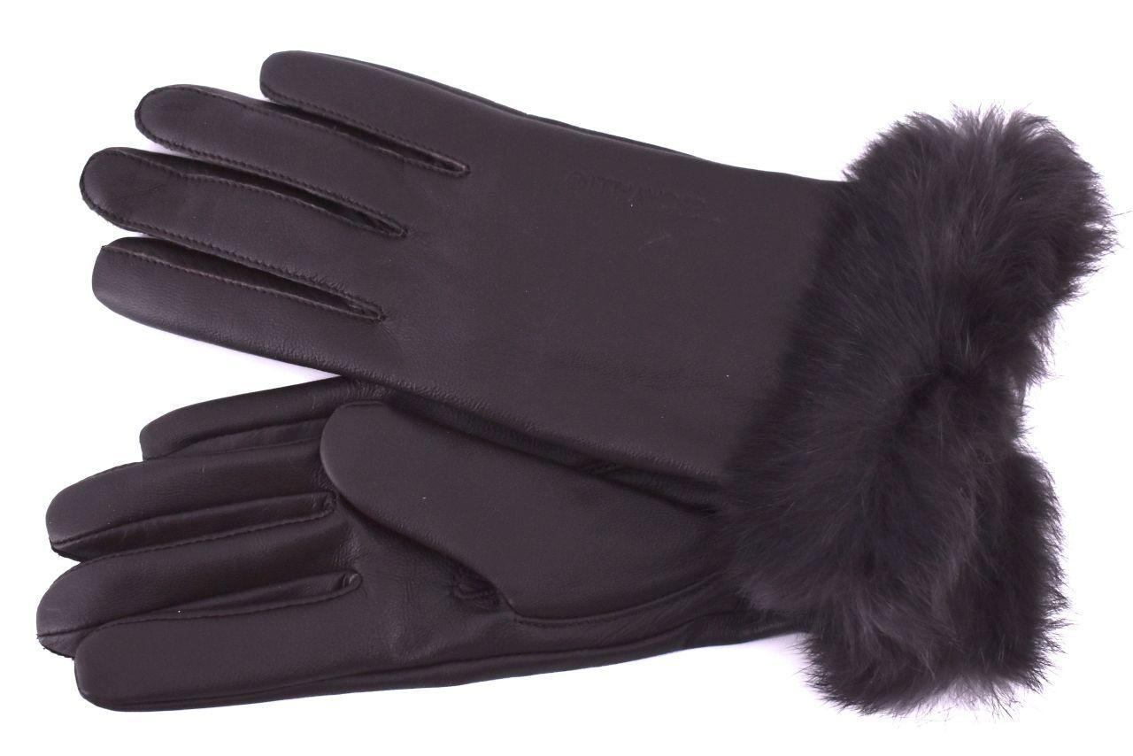 Dámské kožené rukavice B.Cavalli ozdobené kožešinou - tmavě hnědá (S)