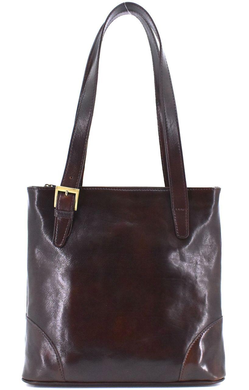 Dámská kožená kabelka Arteddy - tmavě hnědá 29611