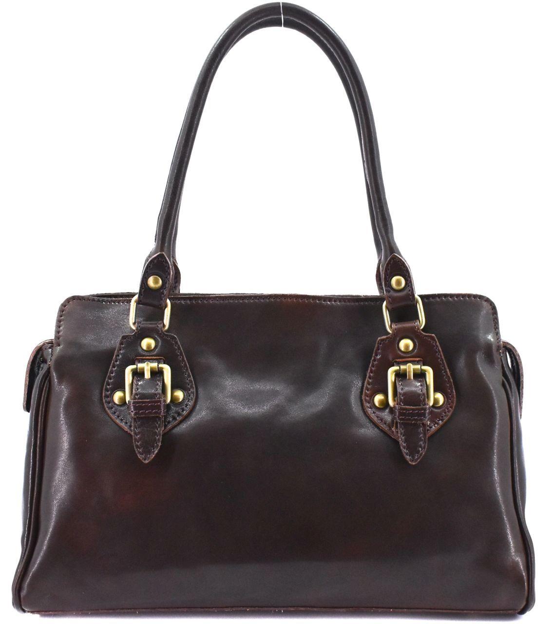 Dámská kožená kabelka Arteddy - tmavě hnědá 29612