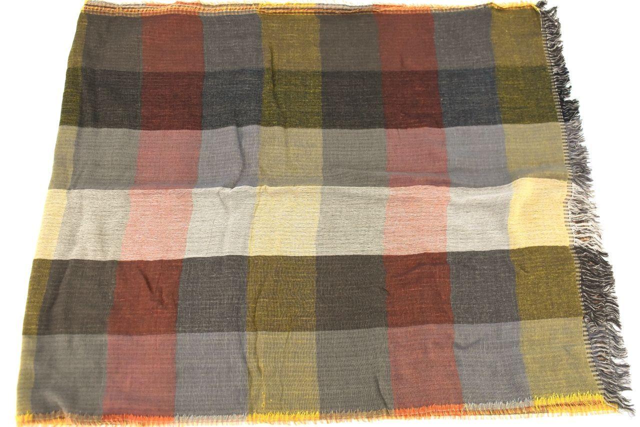 Dámský šátek s kostkovaným vzorem - hořčicová