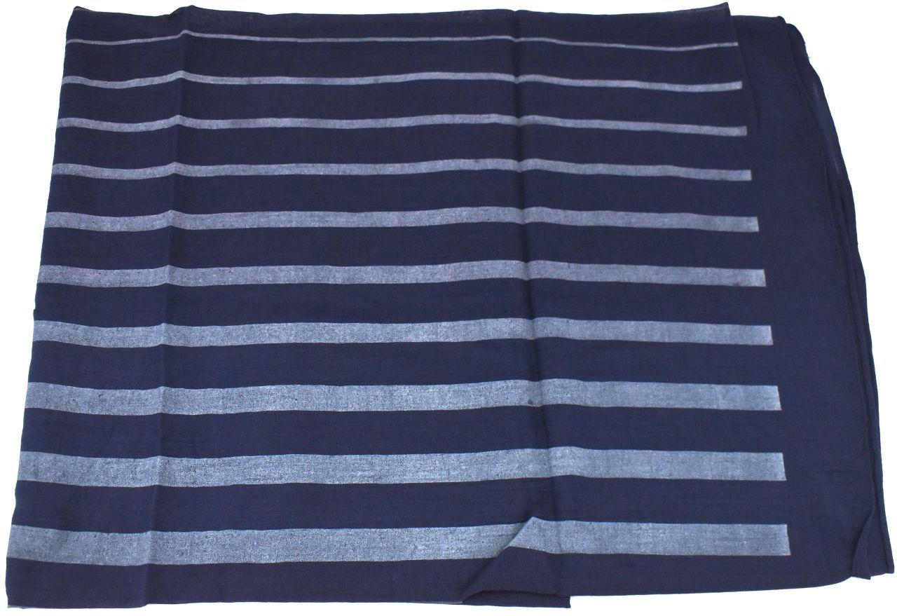 Moderní pruhovaný šátek - tmavě modrá
