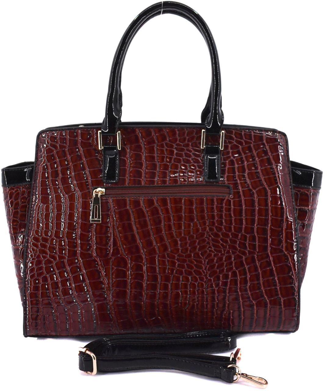 Luxusní dámská lakovaná kabelka - šedá 30742