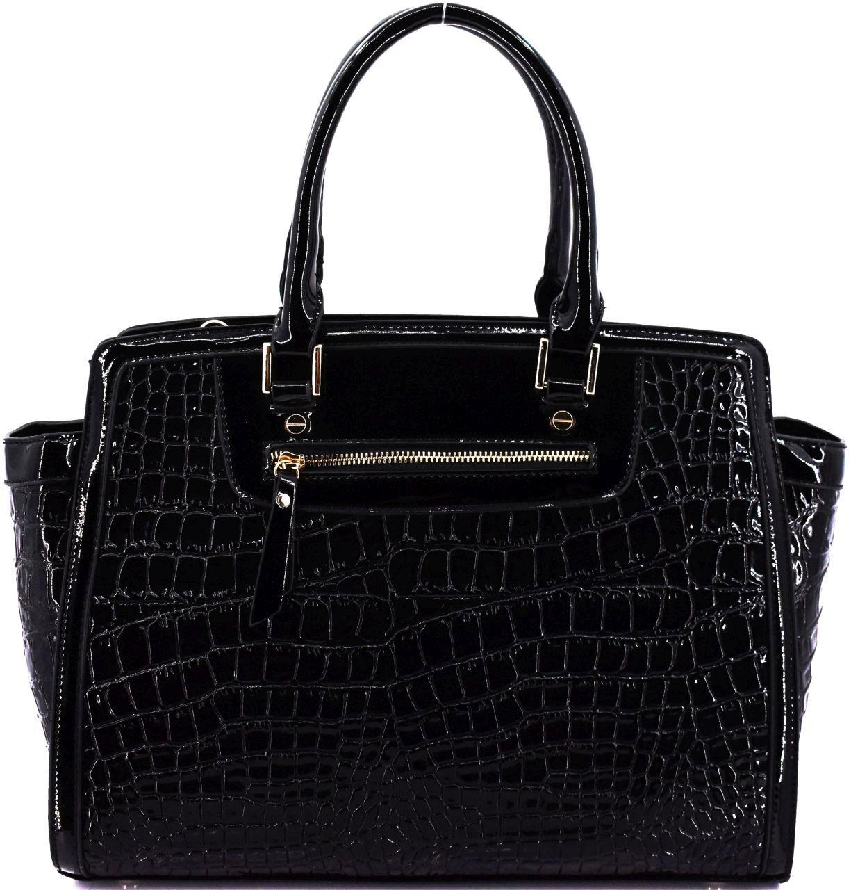 Luxusní dámská lakovaná kabelka - černá 30742