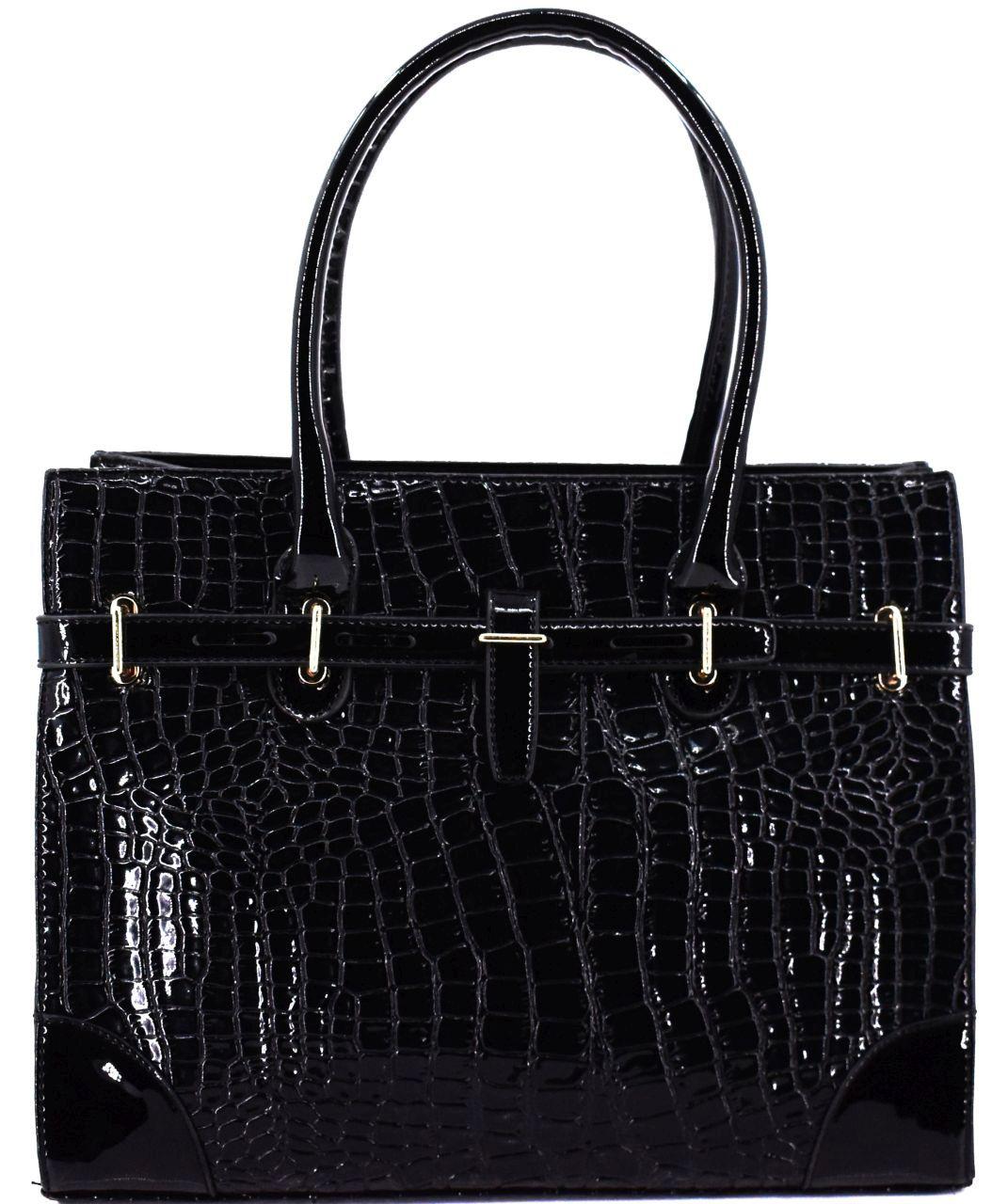 Luxusní dámská lakovaná kabelka - černá 30740