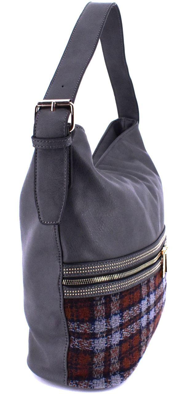 Moderní dámská kabelka s károvaným vzorem - zelená 38094