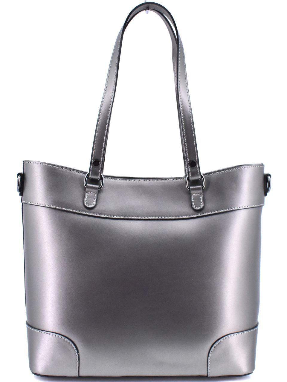Dámská kožená kabelka Arteddy - tmavě stříbrná 40914