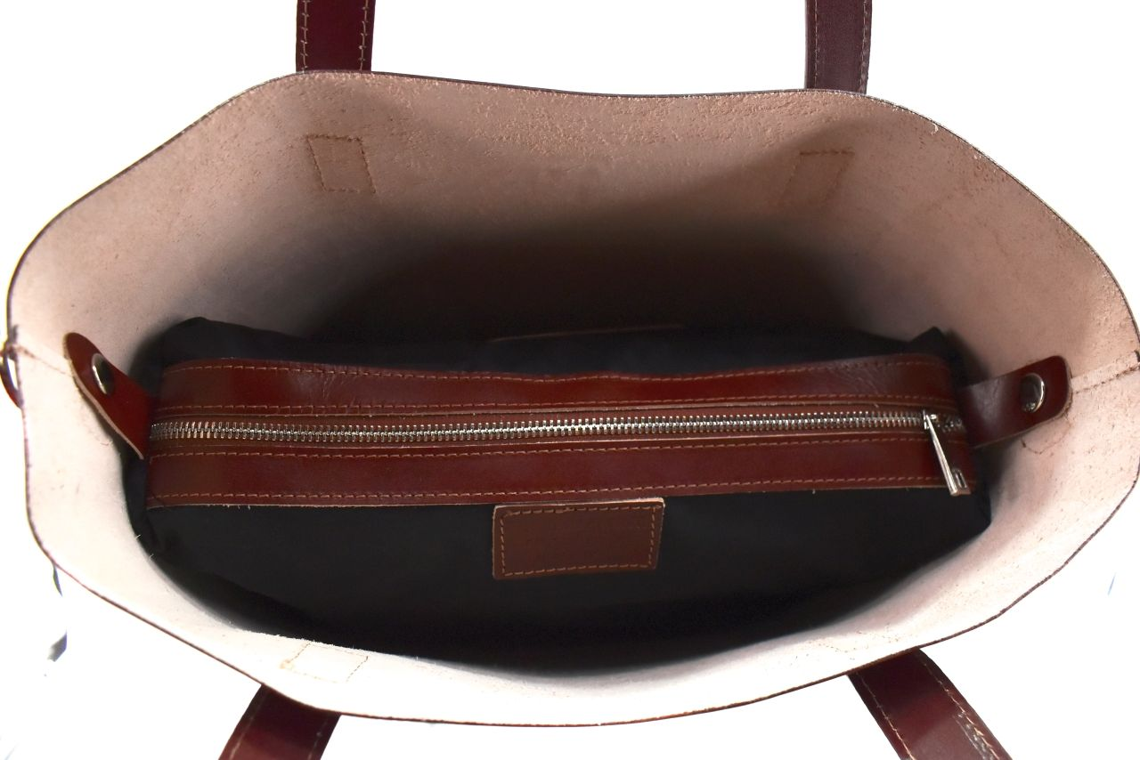 Moderní dámská velká kožená kabelka Arteddy - hnědá 40915
