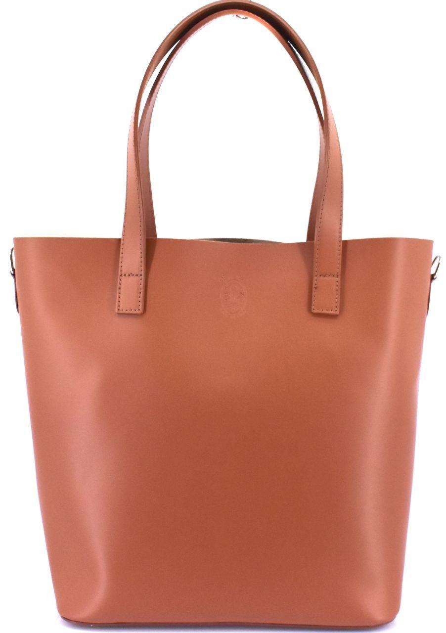 Moderní dámská velká kožená kabelka Arteddy - světle hnědá 40915