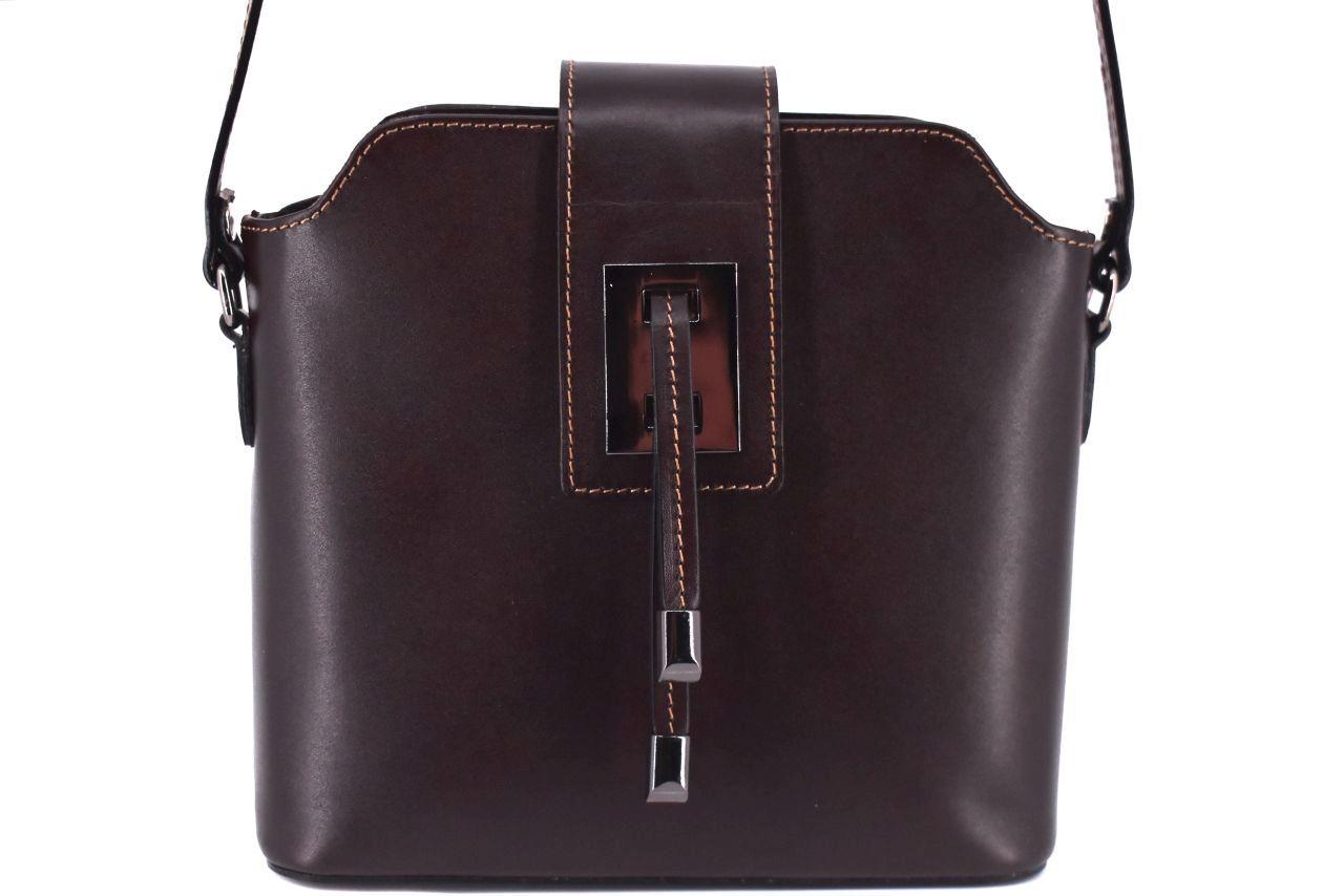 Dámská kožená kabelka crossbody Arteddy - tmavě hnědá 40923