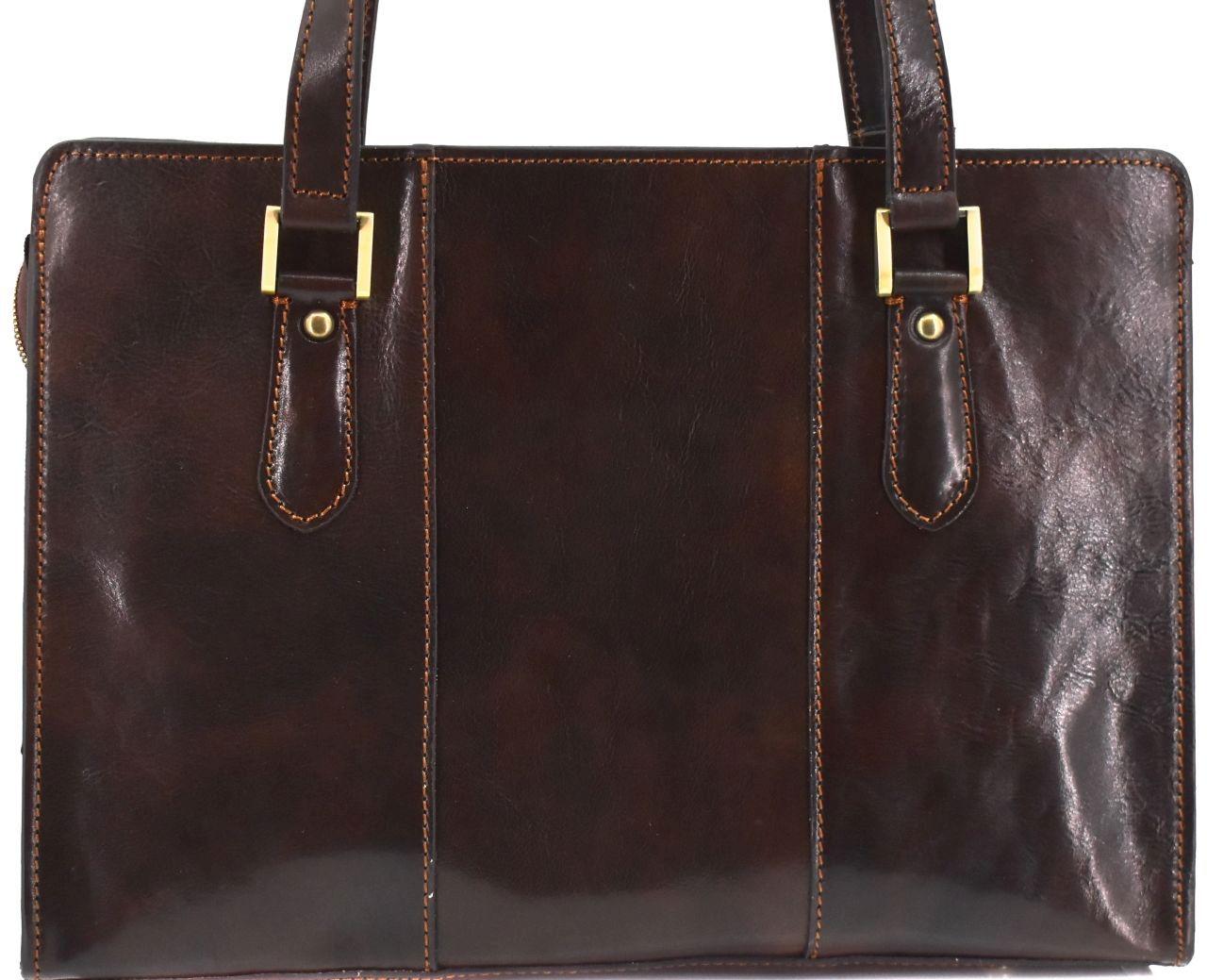 Dámská kožená kabelka Arteddy - tmavě hnědá 33955