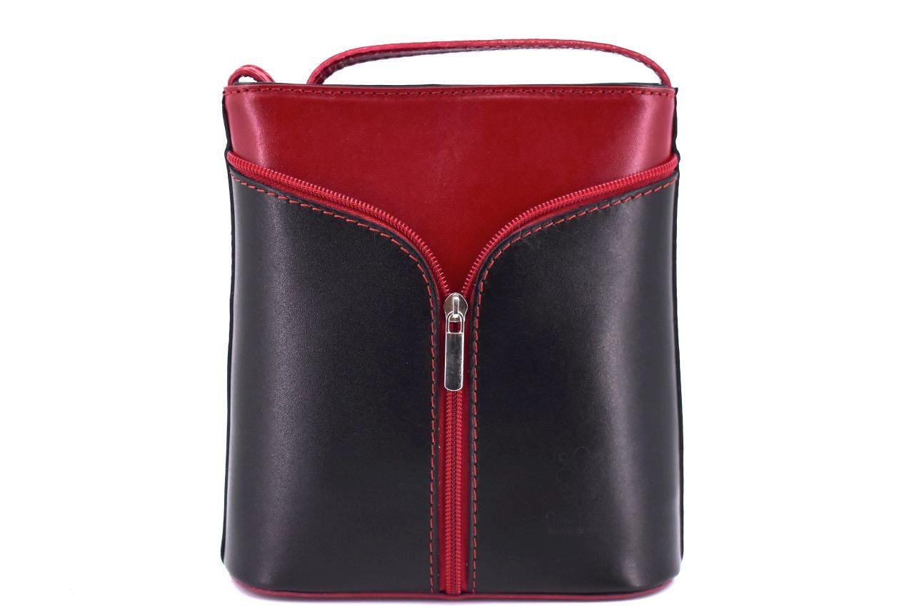 Dámská kožená kabelka crossbody Arteddy - černá/tmavě červená 37124
