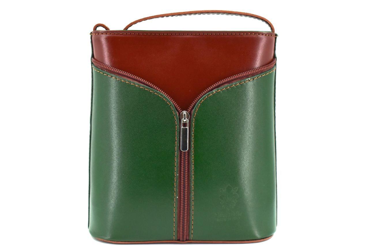 Dámská kožená kabelka crossbody Arteddy - zelená/hnědá 37124