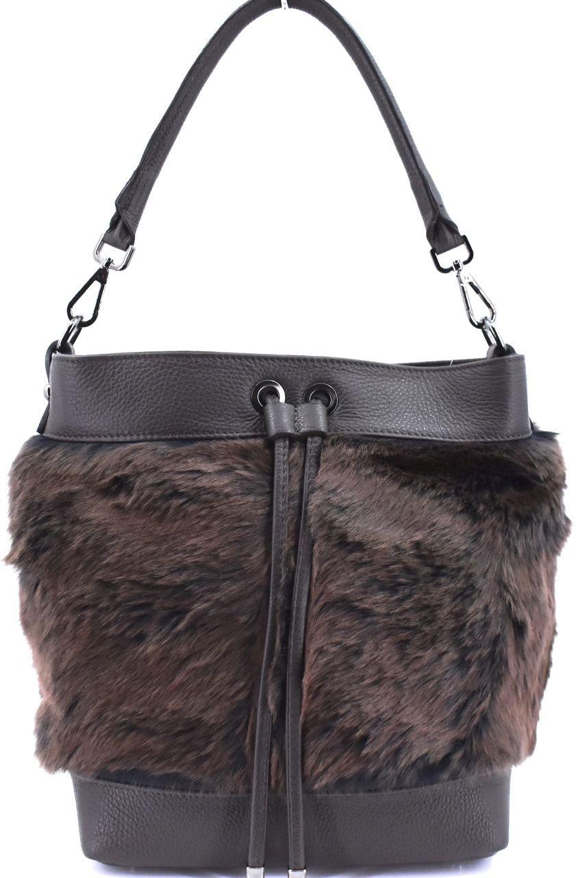 Moderní dámská kožená kabelka Arteddy - tmavě hnědá 40930