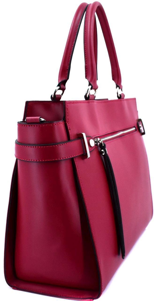 Luxusní dámská kožená kabelka Shopper - tmavě modrá 40929
