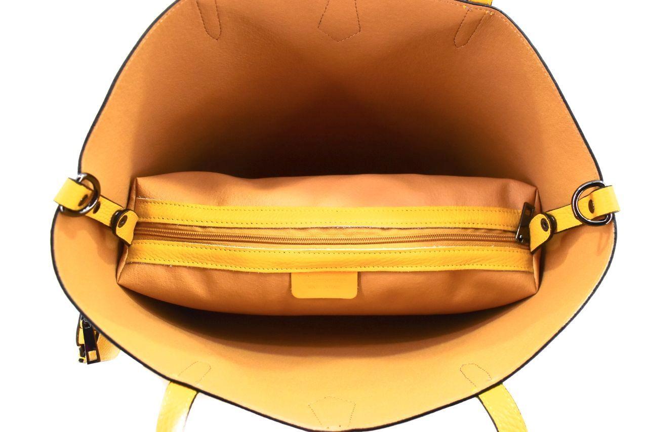 Moderní dámská kožená kabelka - hořčicová 40931