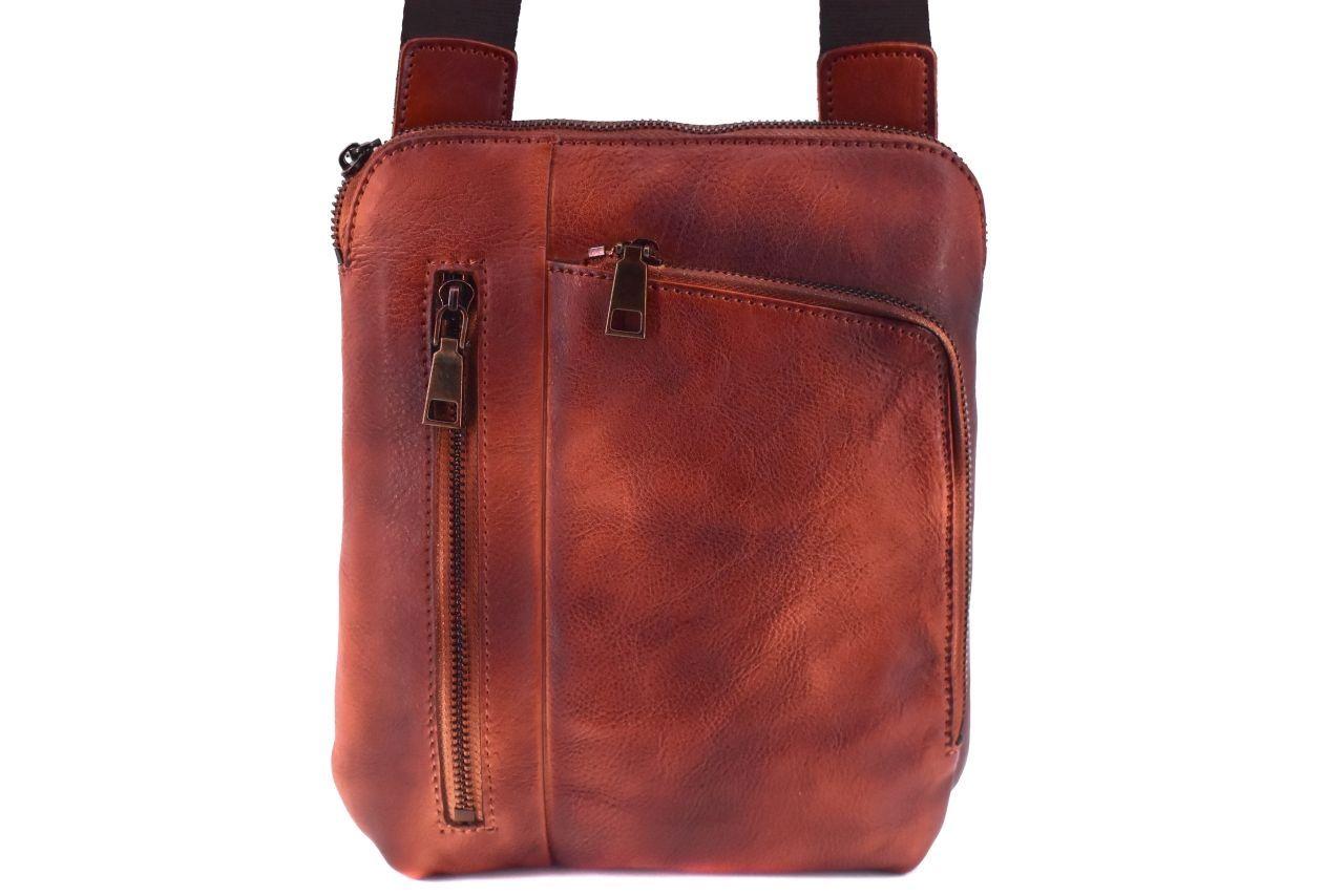 Kožená taška přes rameno crossbody - hnědá 40935