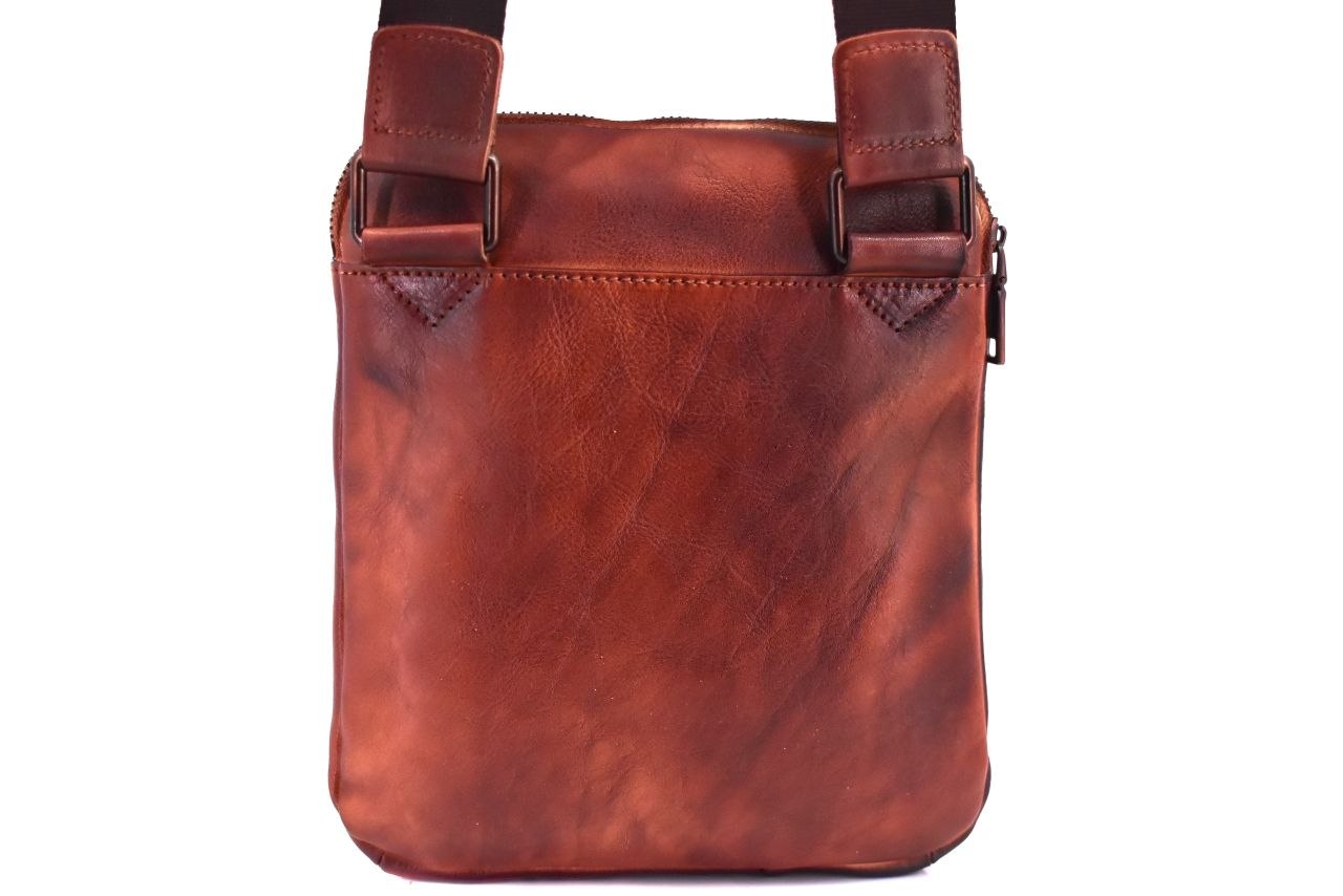 Kožená taška přes rameno crossbody - červená 40935