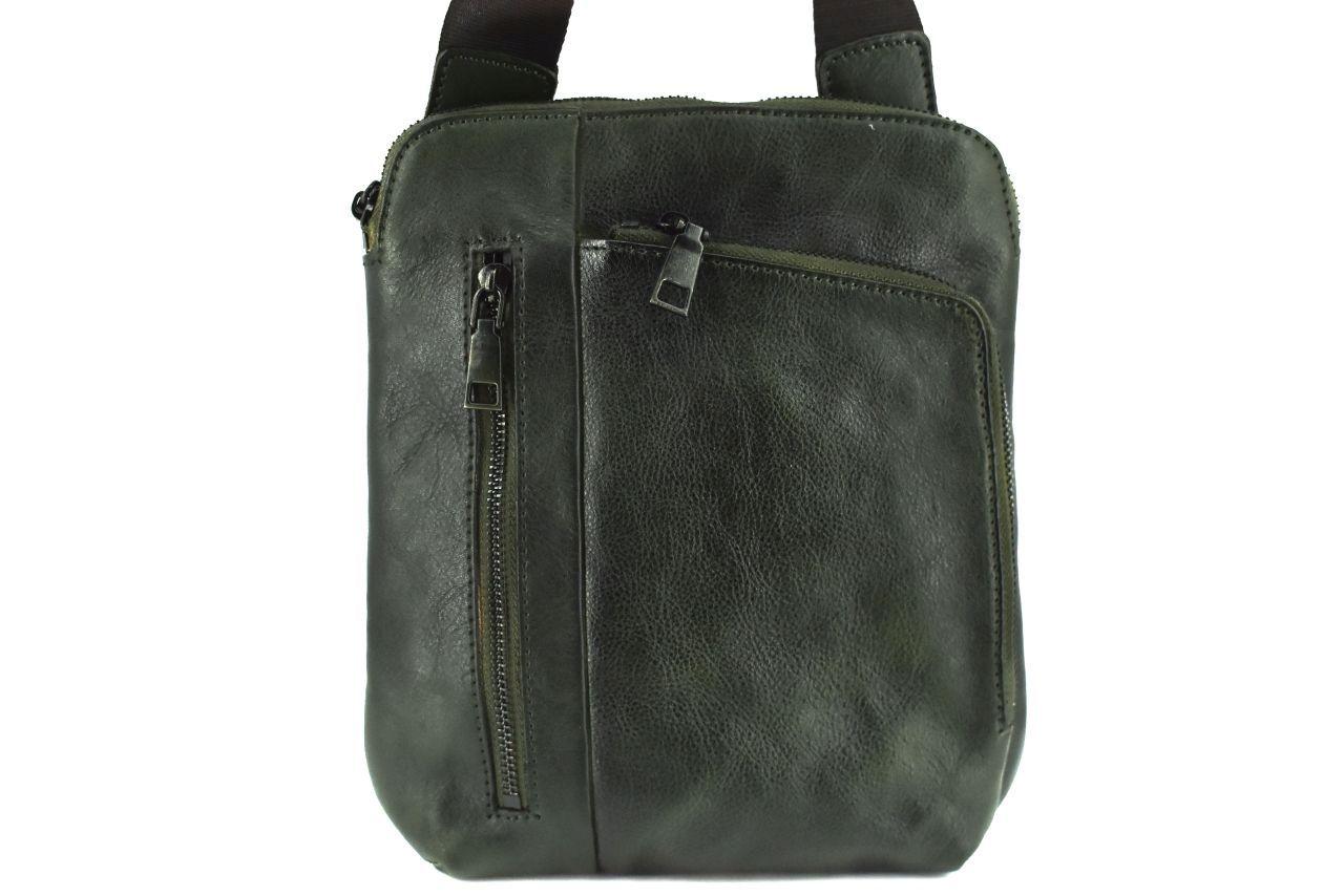 Kožená taška přes rameno crossbody - tmavě zelená 40935