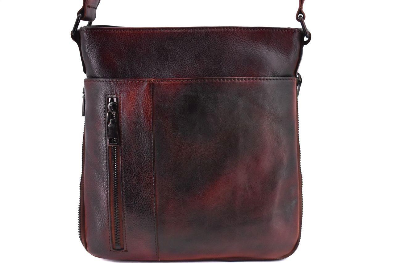 Kožená taška přes rameno crossbody - tmavě hnědá 40936