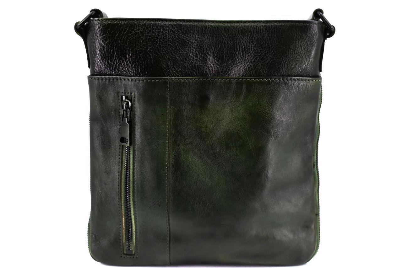 Kožená taška přes rameno crossbody - tmavě zelená 40936