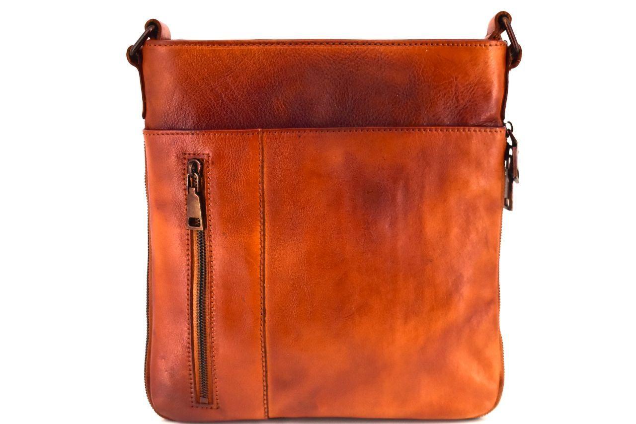 Kožená taška přes rameno crossbody - camel 40936