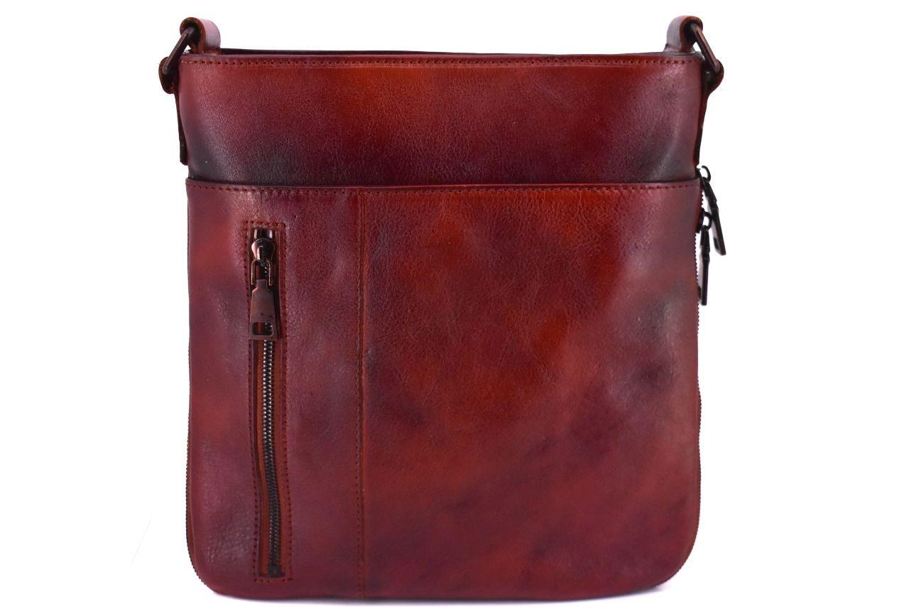 Kožená taška přes rameno crossbody - hnědá 40936