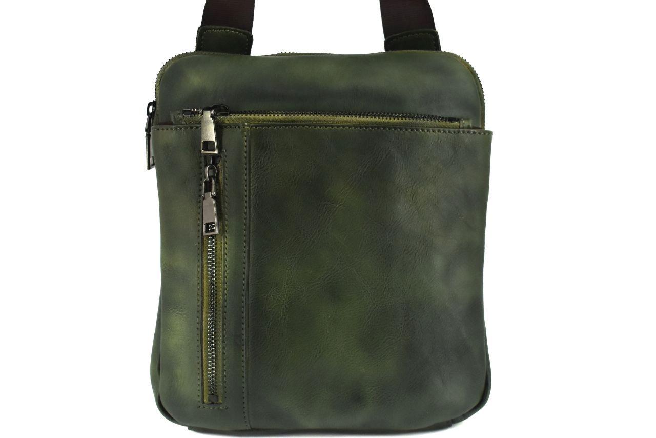Kožená taška přes rameno crossbody - tmavě zelená 40937