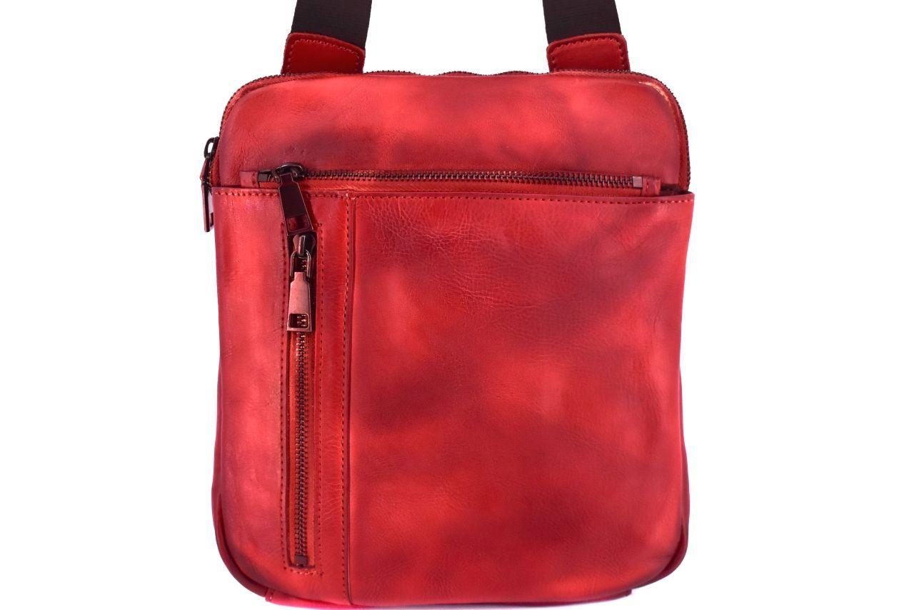 Kožená taška přes rameno crossbody - červená 40937