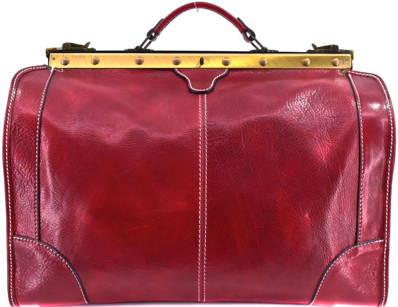 Kožená doktorská taška Arteddy - tmavě červená