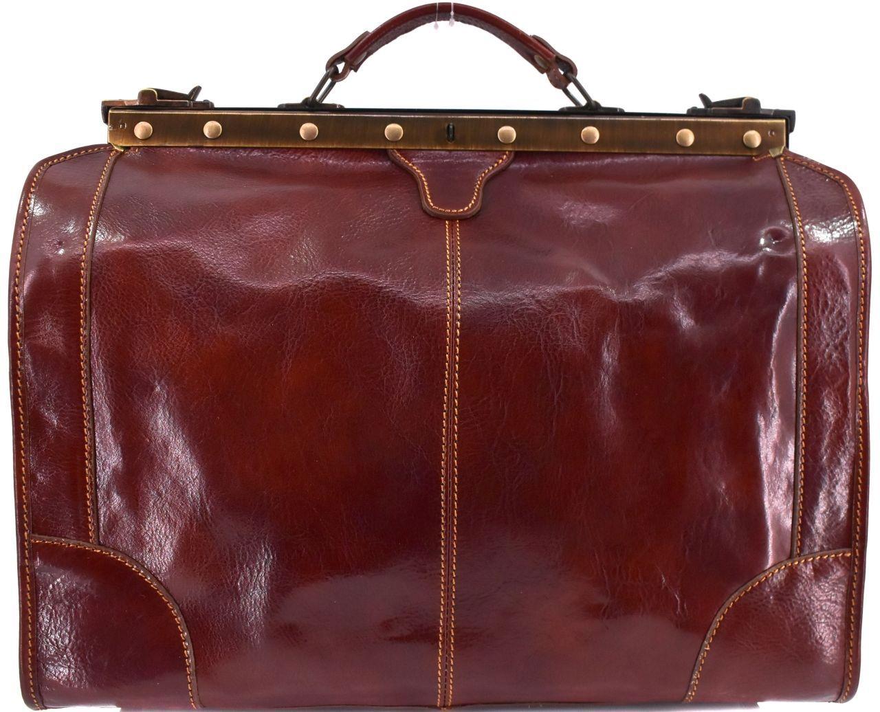 Kožená doktorská taška Arteddy - hnědá