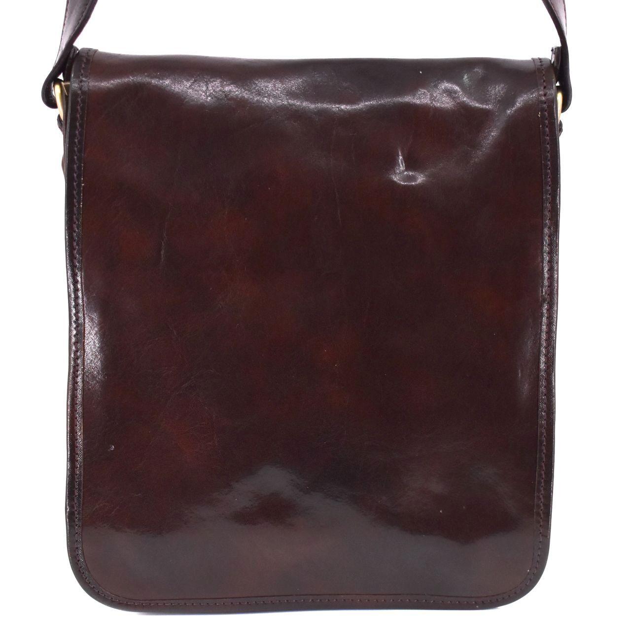 Kožená taška přes rameno crossbody - tmavě hnědá