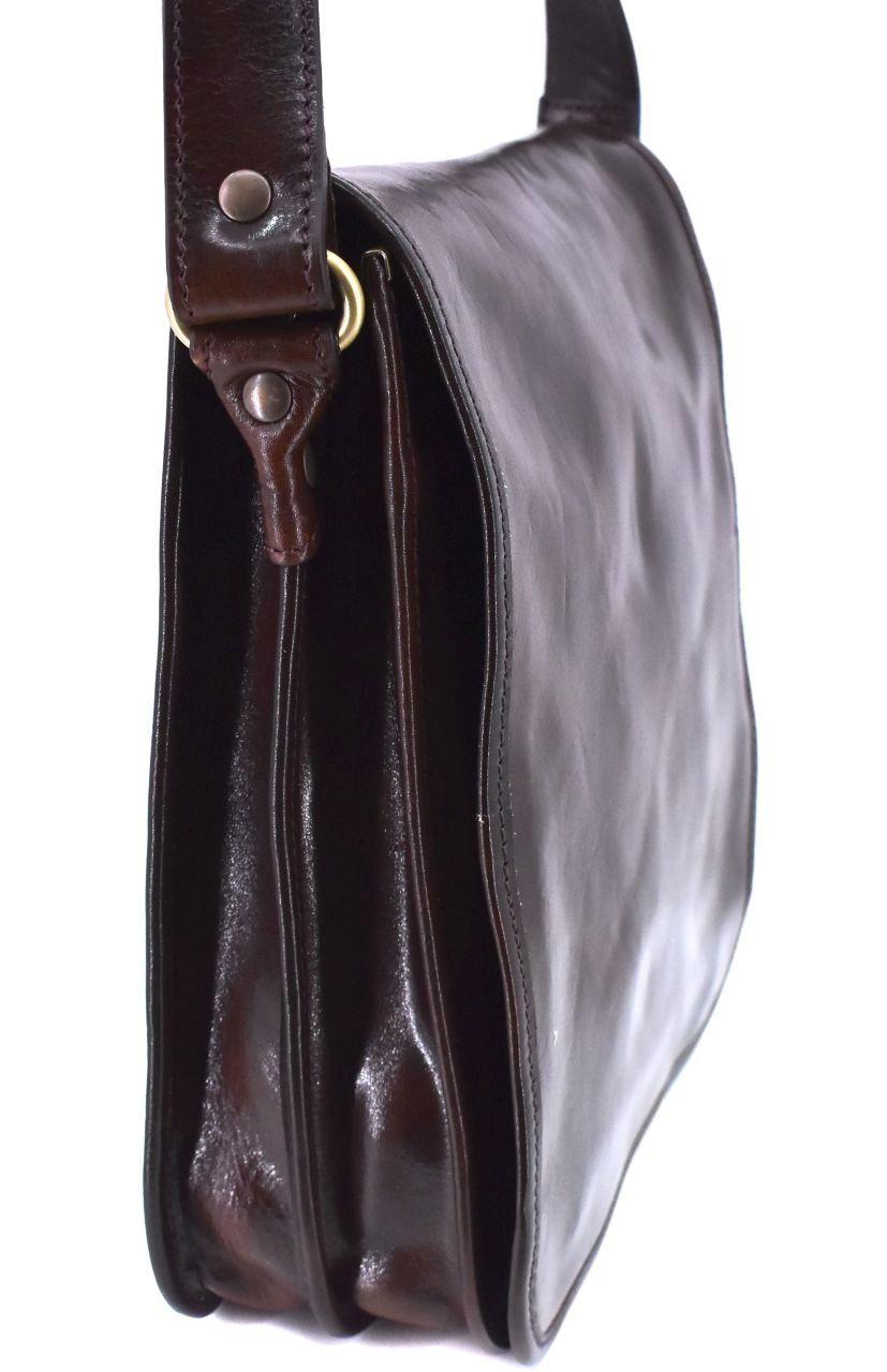 Kožená taška přes rameno crossbody - tmavě hnědá 29631
