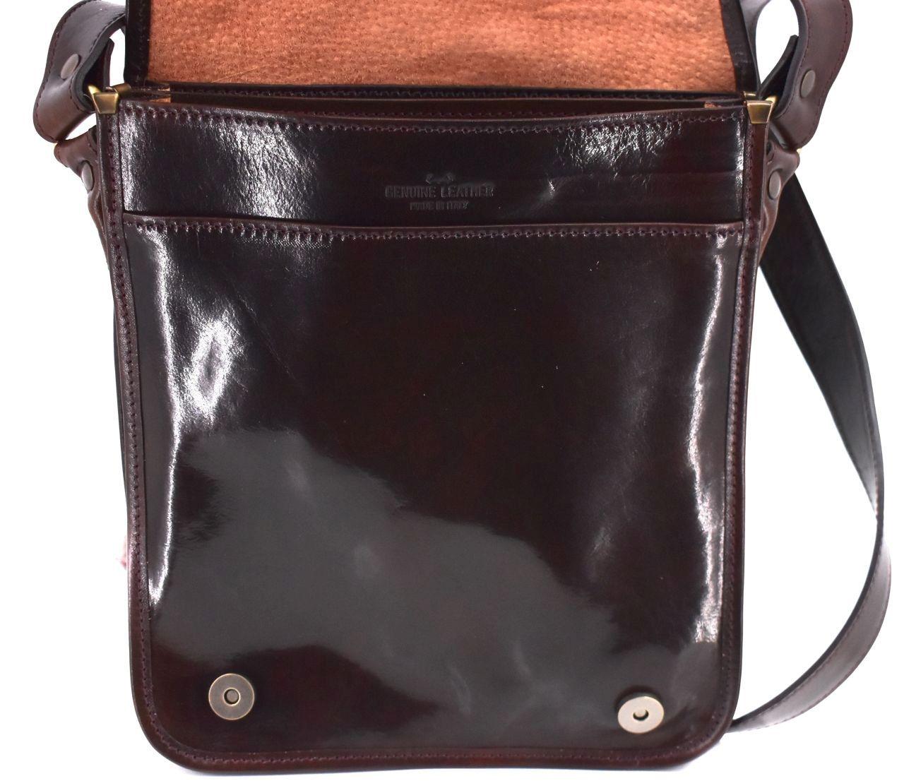 Kožená taška přes rameno crossbody - hnědá 29631