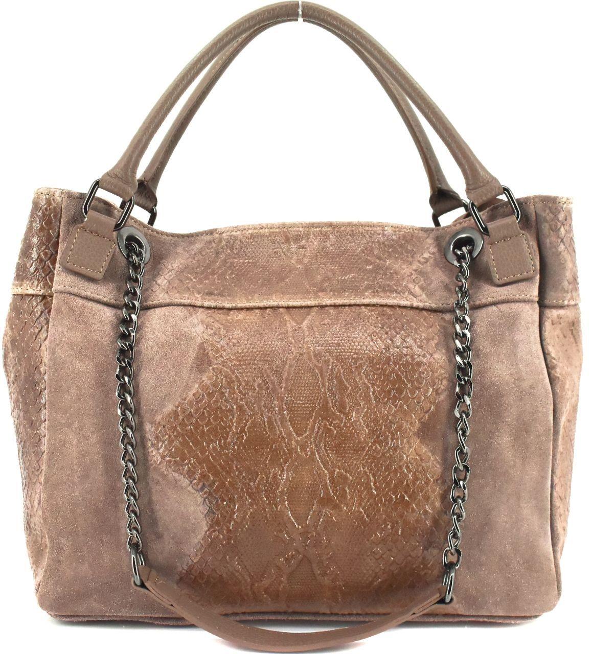 Moderní dámská kožená kabelka Arteddy s hadím vzorem - béžová 31032