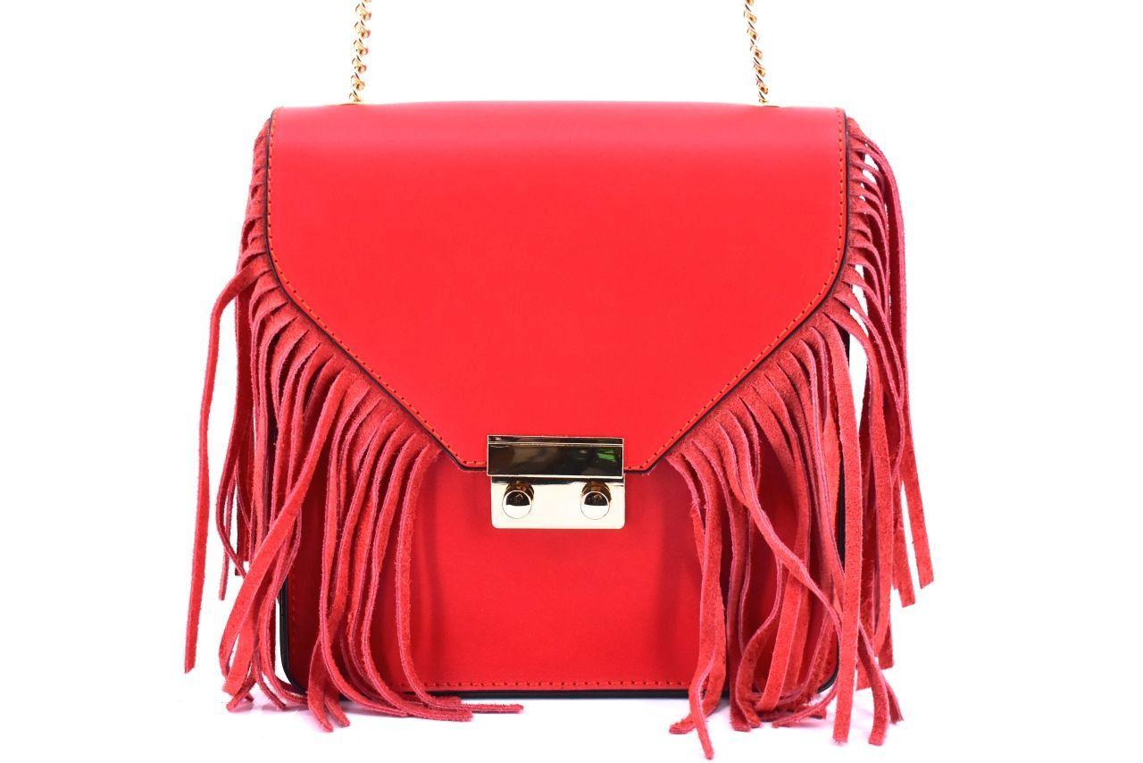 Dámská kožená kabelka crossbody Arteddy - červená 32392