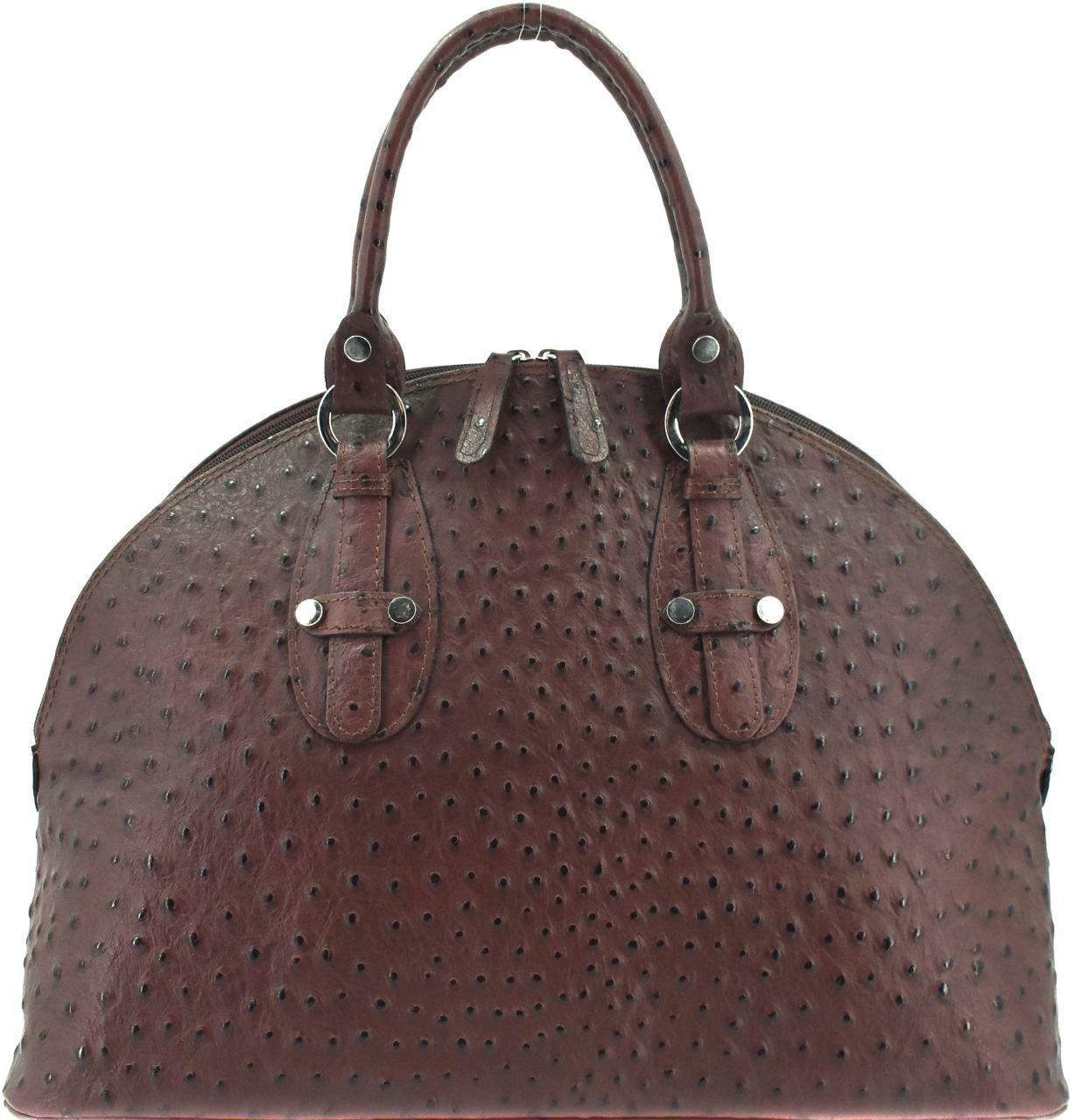 Luxusní dámská kožená kabelka - tmavě hnědá 22578