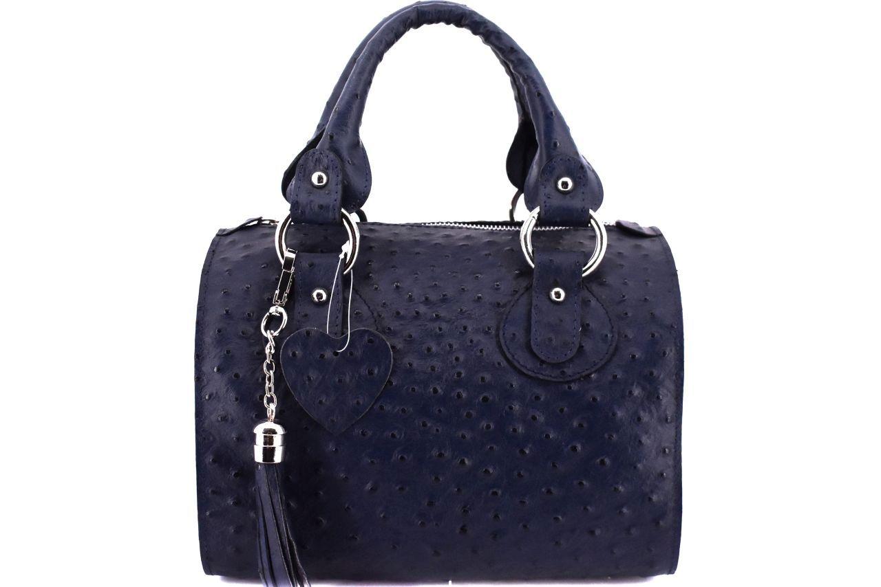 Dámská kožená kabelka Shopper - tmavě modrá 22572