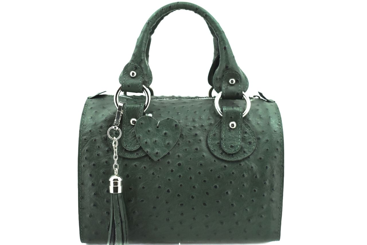 Dámská kožená kabelka Shopper - tmavě zelená 22572