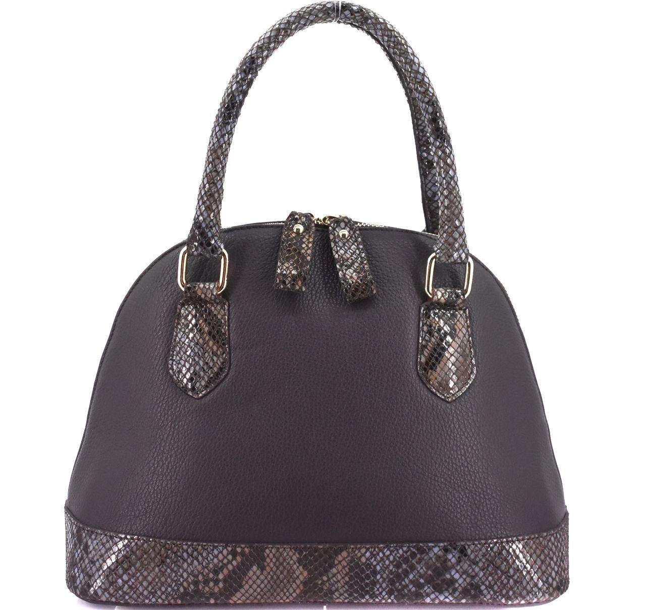 Moderní dámská kožená kabelka Arteddy s hadím vzorem - tmavě hnědá 31011