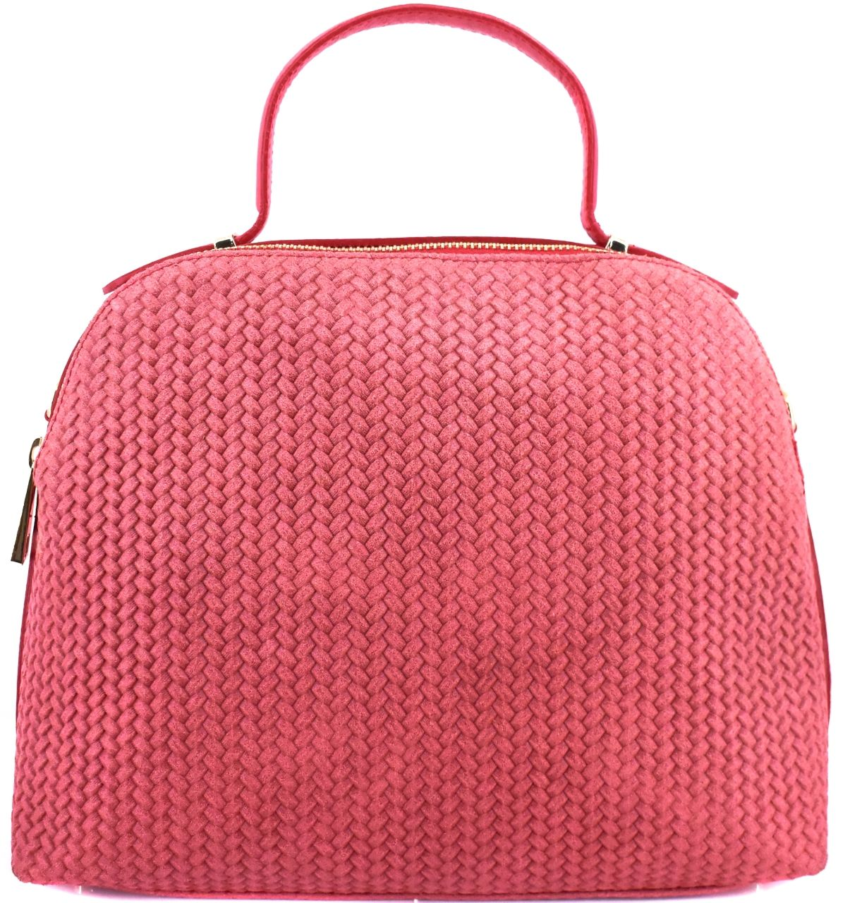 Luxusní dámská kožená kabelka Shopper - světle červená 29545